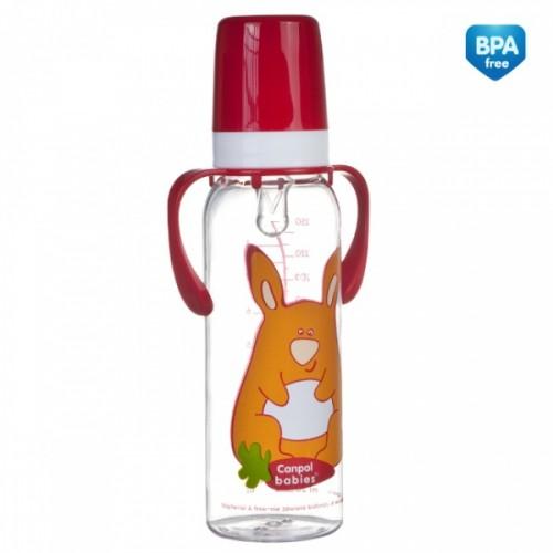 """CANPOL Butelka """"Kolorowa farma"""" 240 ml z uchwytami symbol - 11/845"""