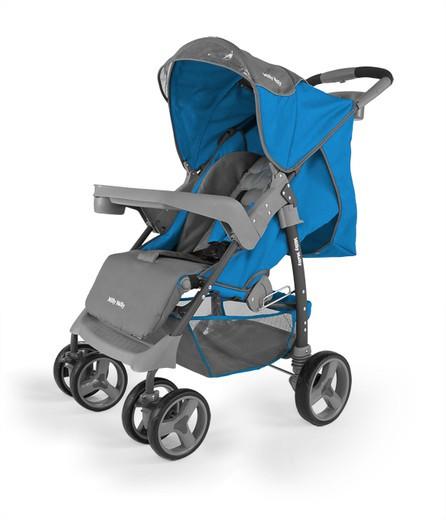 MILLY MALLY Vip niebieski wózek spacerowy z pełną rączką