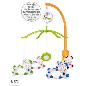 CANPOL Karuzelka plastikowa Krówki 2/173 do łóżeczka z uniwersalnym uchwytem