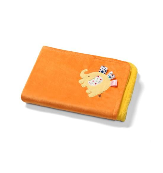BABY ONO Kocyk 3D z mikrofibry dwustronny Słoń 1401/06 pomarańczowy