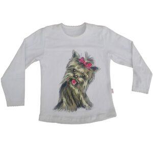 Bluzka dziewczęca bawełniana Piesek York rozmiar 110