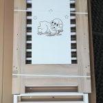 Bobas Łóżeczko drewniane Sonoma z szufladą Śpiący Miś